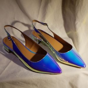 J by J Crew Holographic Block Slingback Heels 8.5